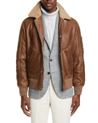 Brunello Cucinelli Genuine Shearling Leather Aviator Jacket