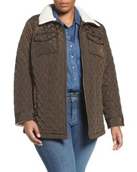 Lucky Brand Plus Size Faux Shearling Trim Zip Front Jacket