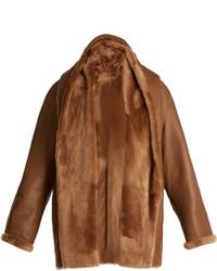 Reversible hooded shearling jacket medium 6727742