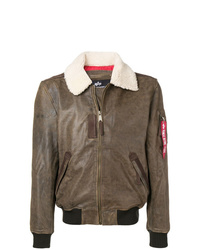 Alpha Industries Shearling Collar Leather Jacket
