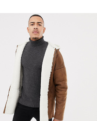 ASOS DESIGN Tall Reversible Faux Shearling Jacket With Hood In Tan