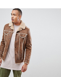 ASOS DESIGN Tall Western Faux Shearling Jacket In Brown