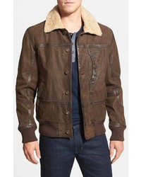 Timberland Tenon Leather Bomber Jacket With Faux Shearling Collar