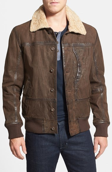 Timberland Tenon Leather Bomber Jacket With Faux Shearling Collar ...