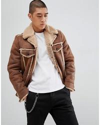 ASOS DESIGN Western Faux Shearling Jacket In Brown