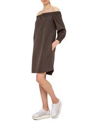 Akris Punto Off The Shoulder Cotton Shift Dress Olive