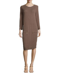 Sand stitched zip pocket shift dress petite medium 3651634