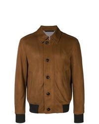 Ermenegildo Zegna Front Button Leather Jacket