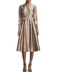 34 sleeve belted midi shirtdress medium 526130