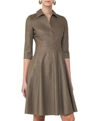 34 sleeve crossover waist shirtdress taupe medium 4106395