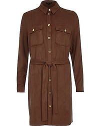 River Island Brown Faux Suede Shirt Dress