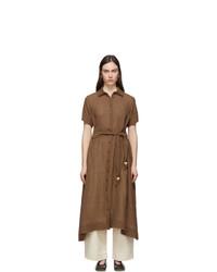 Lisa Marie Fernandez Brown Organic Gauze Shirt Dress