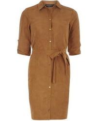 Dorothy Perkins Tan Suedette Shirt Dress