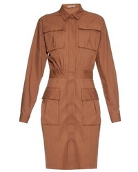 Bottega Veneta Patch Pocket Stretch Cotton Shirtdress