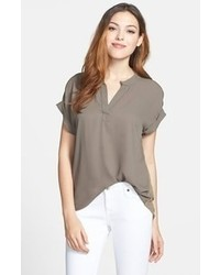 Brown short sleeve blouse original 1290129