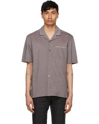 Ermenegildo Zegna Brown Jacquard Short Sleeve Shirt