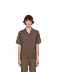 Z Zegna Brown Twill Short Sleeve Shirt