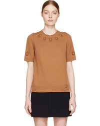 Marc Jacobs Bronze Embroidered Short Sleeve Sweater