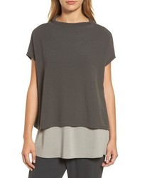 Eileen Fisher Organic Cotton Blend Funnel Neck Sweater