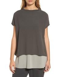 Organic cotton blend funnel neck sweater medium 5035363