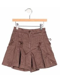 Lili Gaufrette Girls Lace Up Pleated Shorts