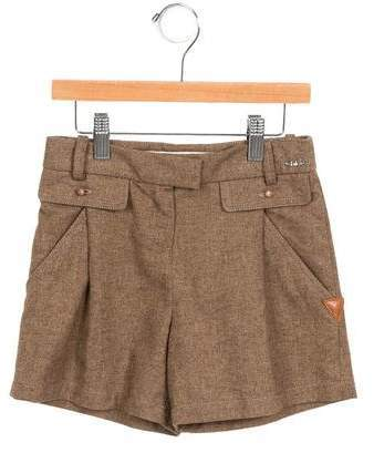 Chloé Girls Leather Trimmed High Rise Shorts W Tags