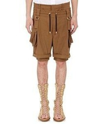 Balmain Layered Look Suspender Shorts Brown