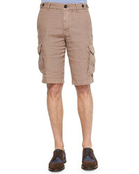 Brunello Cucinelli Linen Cargo Shorts Light Tan