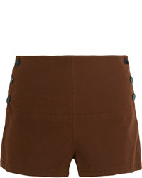 See by Chloe See By Chlo Stretch Cotton Twill Shorts Brown