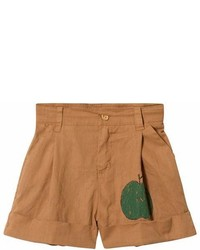 The Animals Observatory Brown Apple Monkey Kids Bermuda Shorts