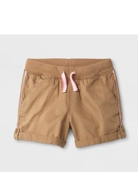 Cat & Jack Toddler Girls Twill Fashion Shorts Brown