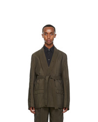 Lemaire Brown Silk Double Breasted Blazer