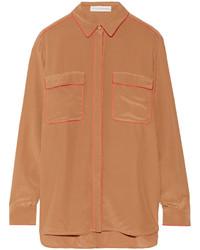 Brown Silk Dress Shirt