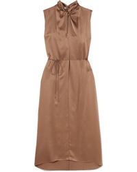 Vince Knotted Silk Satin Dress