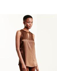 Brown Silk Sleeveless Top