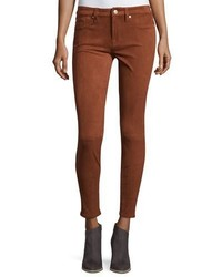 7 For All Mankind Knee Seam Sueded Skinny Jeans Cognac