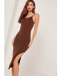 Missguided Racer Thigh Split Midi Dress Brown