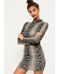 Missguided Brown Snake Print High Neck Curved Hem Bodycon Dress
