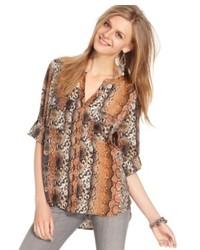 Bar iii top short sleeve python print blouse medium 211805