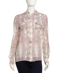 Python print silk blouse pink medium 211803