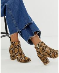 New Look Block Heel Boot In Snake Print