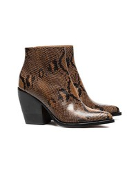 Chloé Brown And Black Rylee 80 Snakeskin Effect Leather Boots