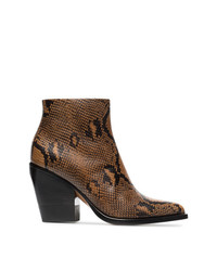 Brown and black rylee 80 snakeskin effect leather boots medium 8265771