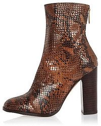 Brown leather snake heeled ankle boots medium 432202