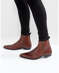 Brown Snake Leather Chelsea Boots