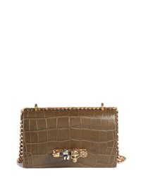 Alexander McQueen Croc Embossed Leather Shoulder Bag