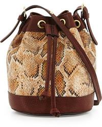 Neiman Marcus Sierra Snake Print Bucket Bag Tan Snakedark Brown