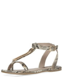 Dorothy Perkins Wide Fit Cream Snake Print Metal Sandals