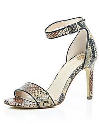 River Island Brown Snake Print Mid Heel Sandals