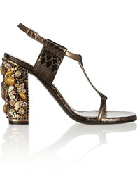 Lanvin Embellished Metallic Snake Effect Leather Sandals